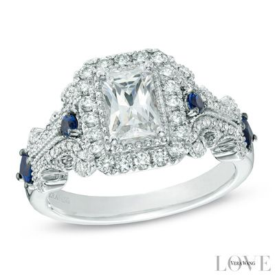 Vera Wang Love Collection 1 18 Ct Tw Emerald Cut Diamond And