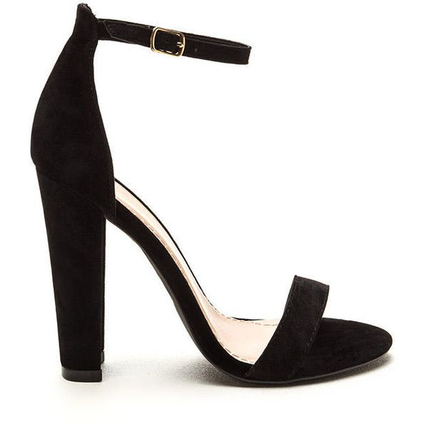 49be011fd82 BLACK Simple Statement Chunky Velvet Heels ( 27) ❤ liked on Polyvore  featuring shoes