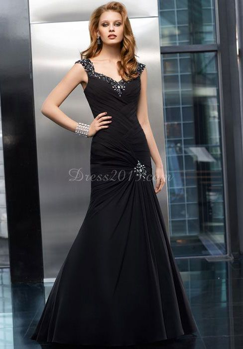 queen anne chiffon zipper pleats long Black evening dress - Dress2015.com