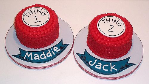 Thing 1 and Thing 2 Smash Cakes by marj.theicingonthecake, via Flickr @Ashley Crosby