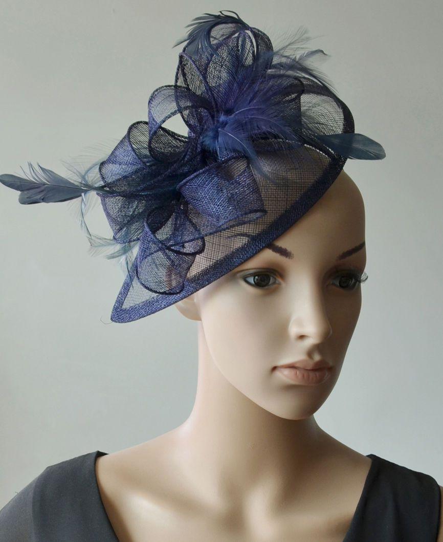 c175d7066976b9 Navy Sinamay Wedding Fascinator Hats Corsage Flower Feather Hair Band  Headband