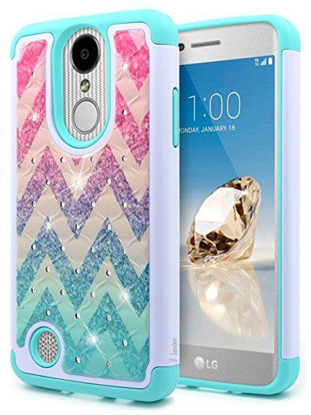 LG K20 V Case, Plus Harmony Grace NageBee Hybrid Soft Silicone Cover with [Studded Rhinestone Bling] Design Hard Case (Wave)
