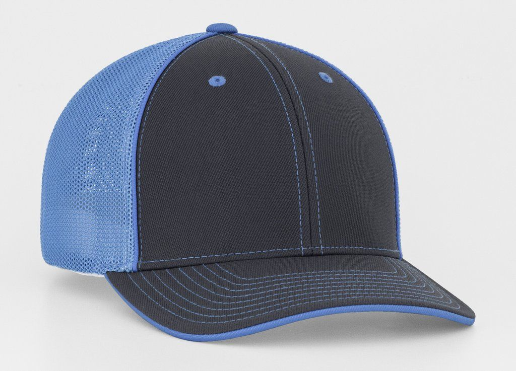 Graphite neon blue mesh trucker hat with images mesh