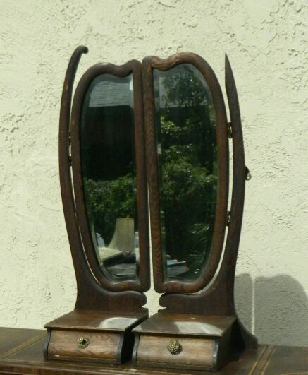 Antique Wood Dresser Mirror Side Rotating Drawers