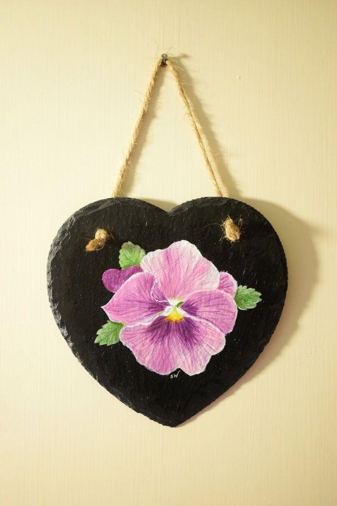 Purple Pansy Hand Painted Slate Wall Art Decoration, Heart Shaped ...