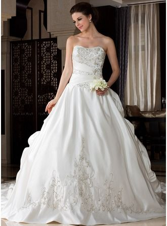 Ball-Gown Sweetheart Royal Train Satin Wedding Dress With ...