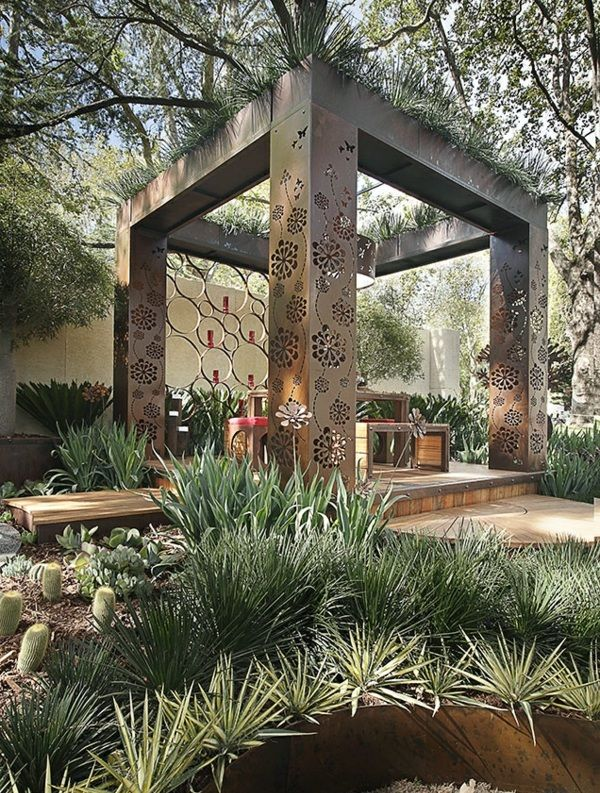 pergola aus metall 40 inspirierende beispiele und ideen pergola pinterest gartenlaube. Black Bedroom Furniture Sets. Home Design Ideas