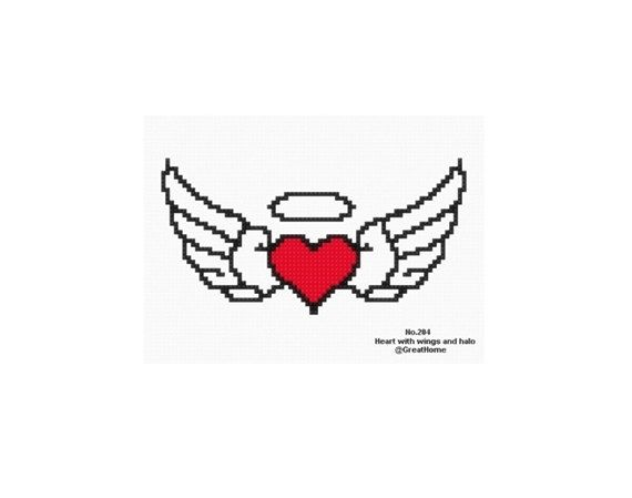 Heart with wings and halo Cross Stitch Chart Pattern by