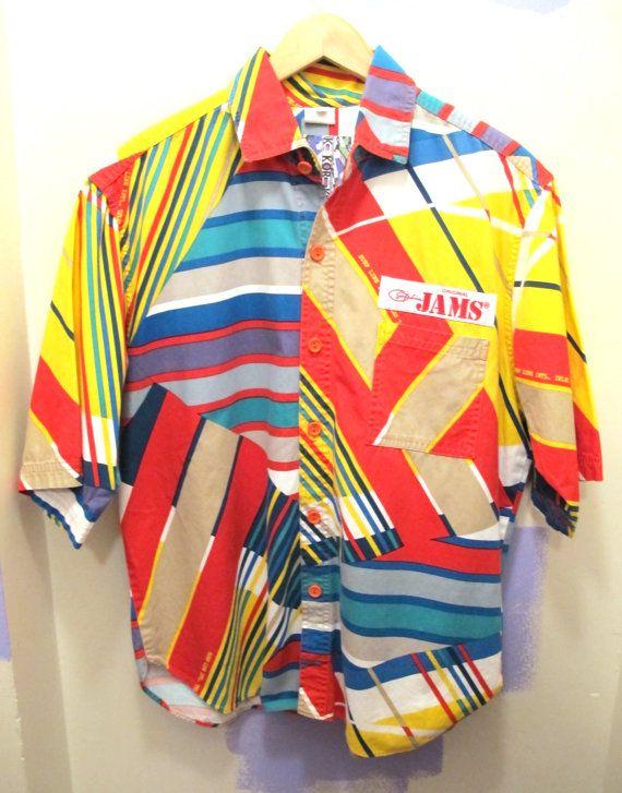 80s JAMS Button Down Shirt Geometric Surf All Over by kokorokoko, $38.00