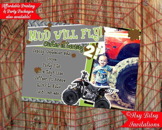 4 Wheeler Mud Invitation ATV By ItsyBitsyInvitations Boy Birthday Invitations Wheelers