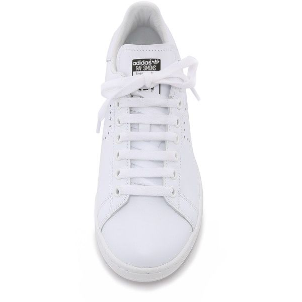 Adidas by Raf Simons Raf Simons Stan Smith Sneakers (€415) ❤ liked on Polyvore featuring shoes, sneakers, famous footwear, perforated sneakers, adidas sneakers, leather sneakers and adidas shoes
