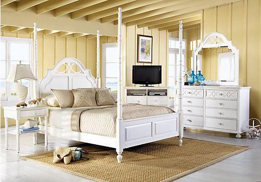 seaside bedroom furniture. Cindy Crawford Home Seaside White 6 Pc King Poster Bedroom - Sets Colors Furniture