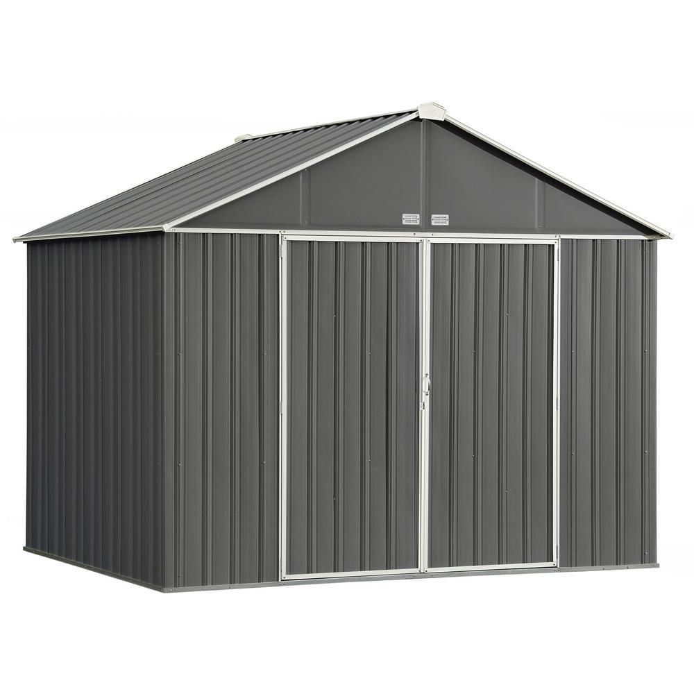 Arrow 10 Ft W X 8 Ft H X 8 Ft D Ezee Extra High Galvanized Steel Gable Shed In Charcoal Cream With Snap It Quick Assembly Ez10872hvcccr The Home Depot Steel Storage Sheds