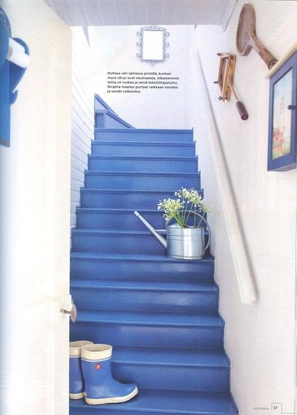 Bright Blue Painted Stairs Thinking Of This Color For The Front Door Painted Stairs Painted Staircases Home