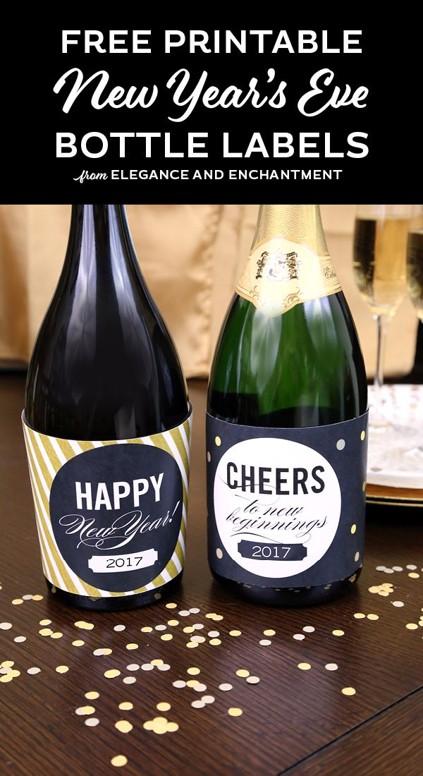 dazzle your new years eve guests with these easy to print bottle labels free download from elegance and enchantment