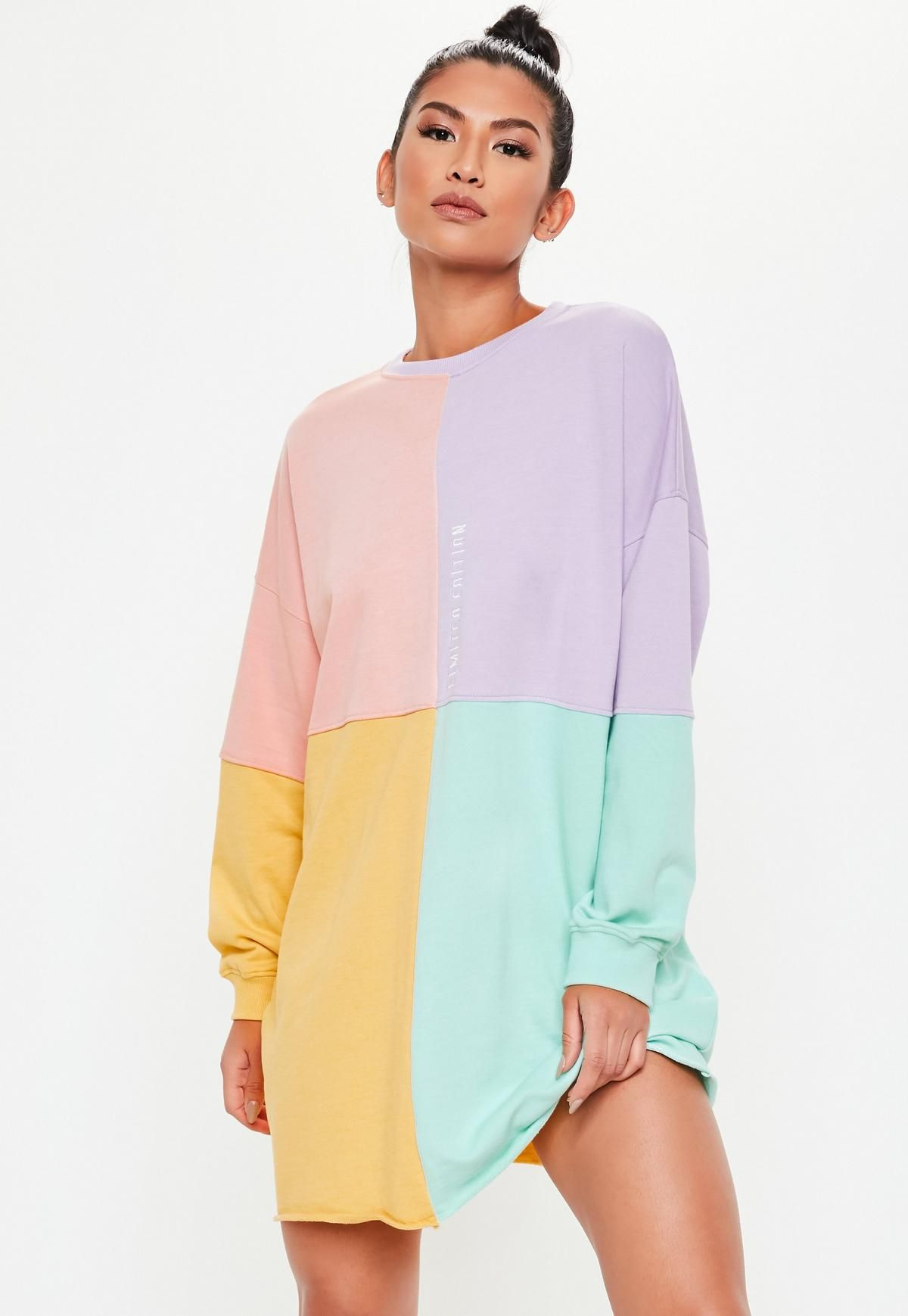 ed3b3f0f154 Missguided Pink Oversized Colorblock Sweater Dress in 2019