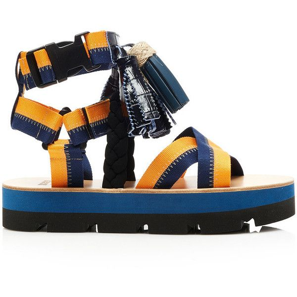 MSGM Pendant Detail Sandals ($335) ❤ liked on Polyvore featuring shoes, sandals, colorful high tops, strap shoes, tassel sandals, tassel shoes and high top shoes