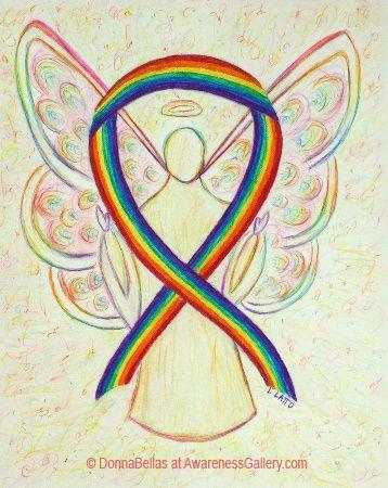 Lesbian, Gay, Bisexual, and Transgender #LGBT #Pride Rainbow Ribbon Awareness Angel Art Painting