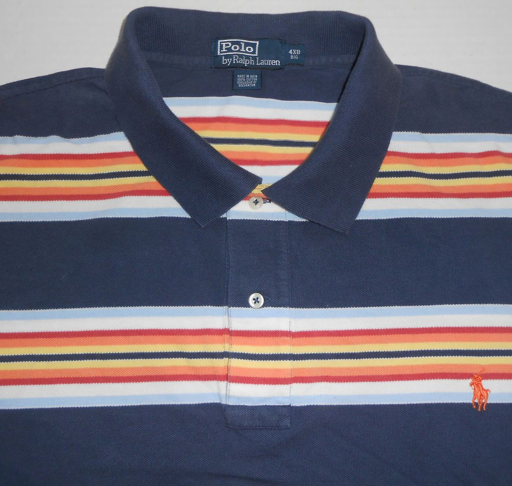 Ralph Lauren Men's Blue Big Pony Orange Polo