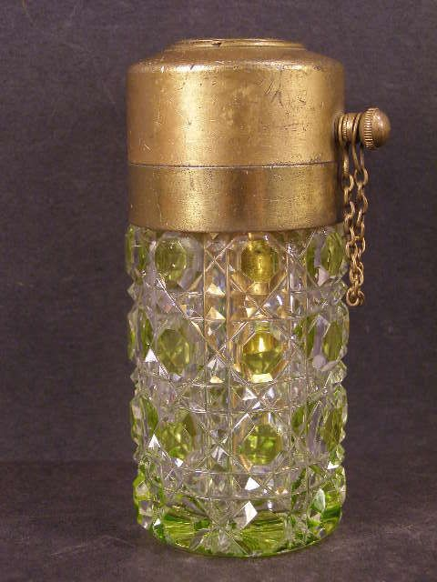 19c VAL ST. LAMBERT Bohemian Cut to Clear Glass Crystal Perfume Atomizer Bottle~
