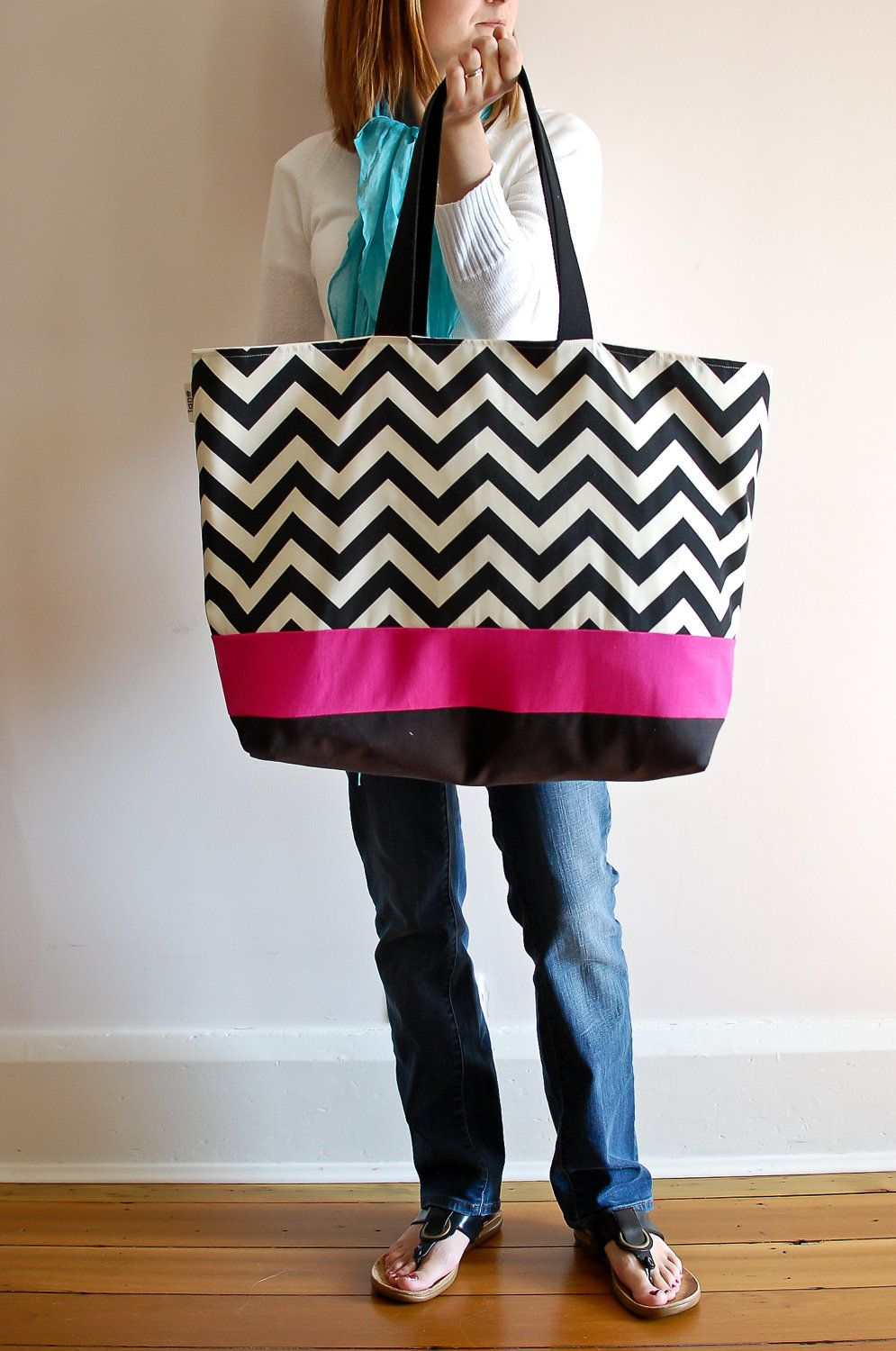 Extra Large Beach Bag Tote In Black Chevron With A Pinch Of Hot Pink