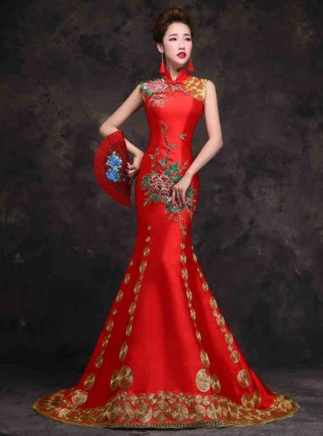68c5704b6cf62 Floral embroidered sleeveless mandarin collar | wedding stuff ...