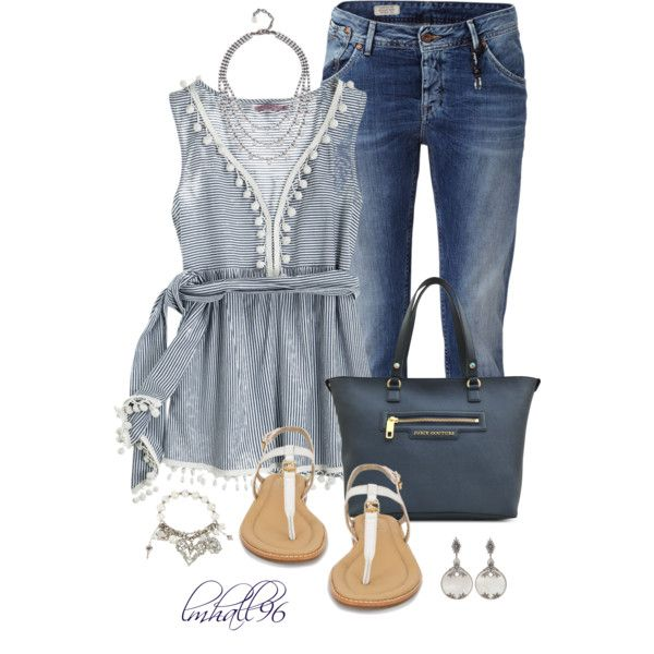 """""""Boyfriend Jeans and Striped Top"""" by lmhall96 on Polyvore"""