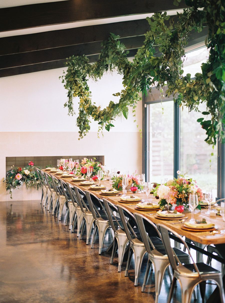 tropical floral inspired spring dallas wedding | metal cafe chairs