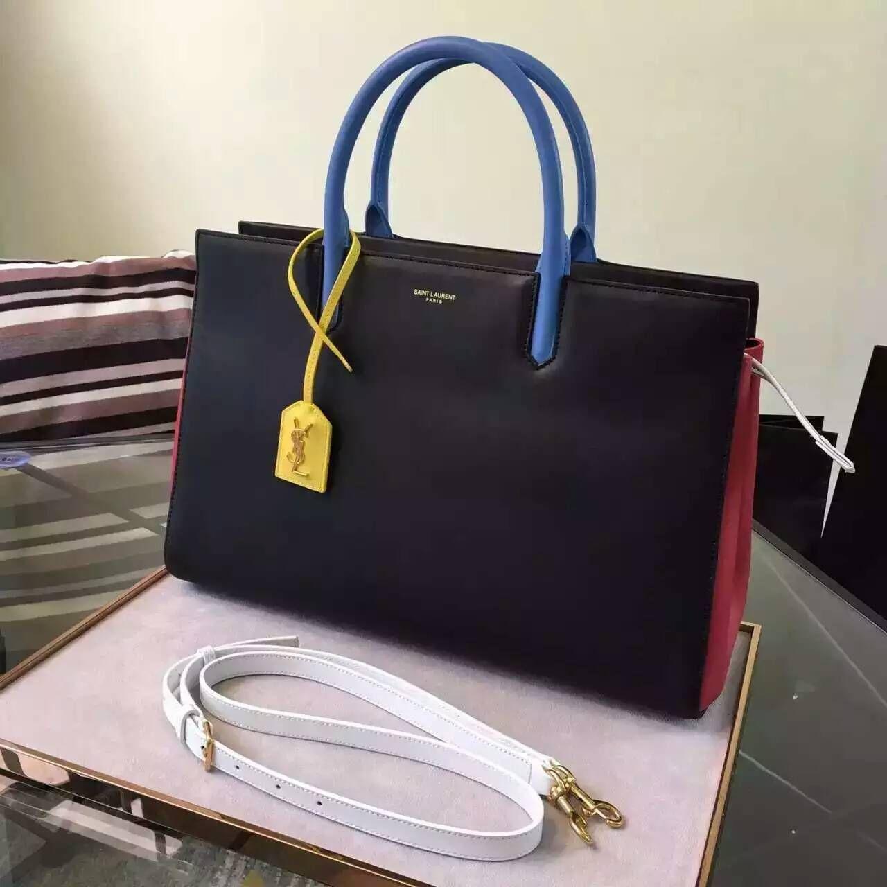 0c817d7c61d S/S 2016 New Saint Laurent Bag Cheap Sale-Saint Laurent Medium Cabas Rive  Gauche Bag in Black, Red, Dove White, Light Blue and Yellow Leather
