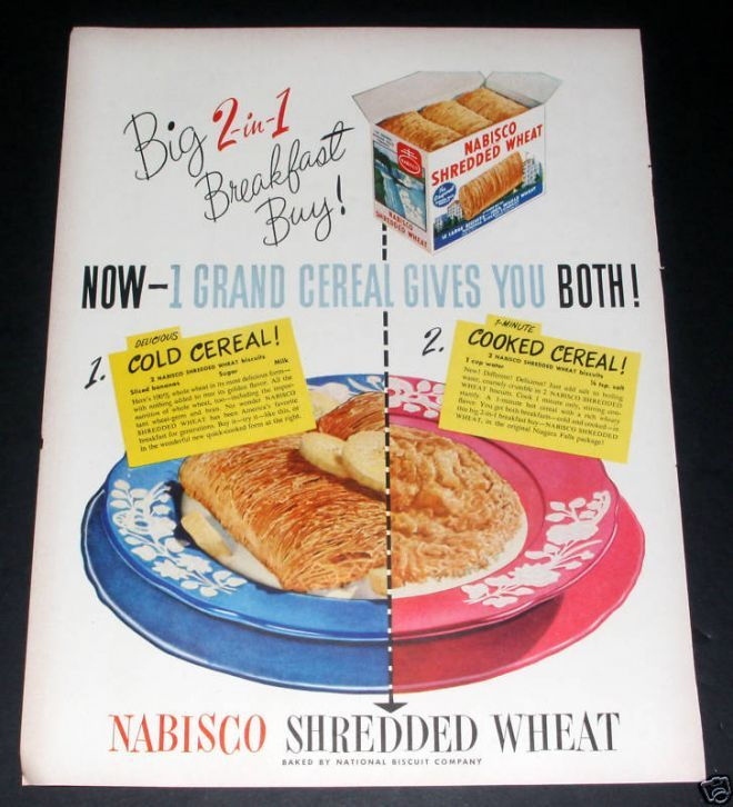 Nabisco Shredded Wheat, 2 In 1, Ex (1949)