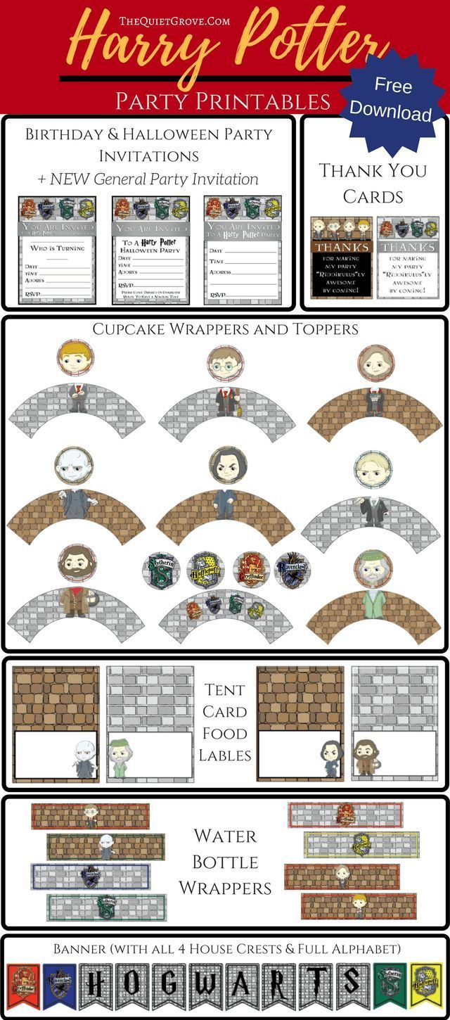 free harry potter party printables | harry potter invitations, movie