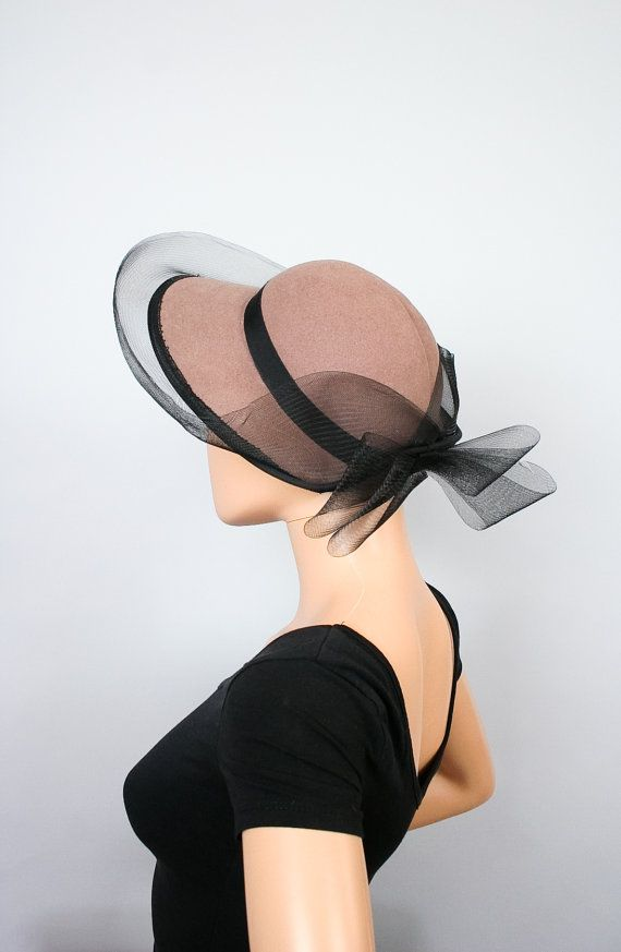 Vintage Wool Felt Hat / Light Brown Fedora / Black by ontheprowl