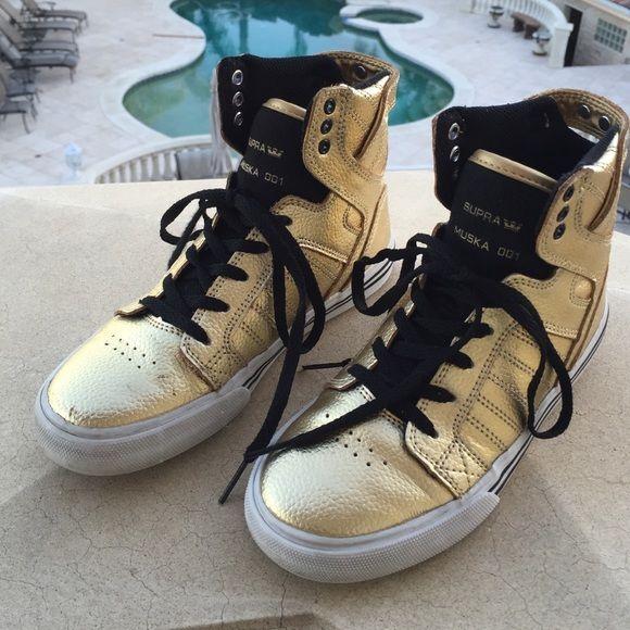 Supra high tops, Supra shoes, Gold sneakers