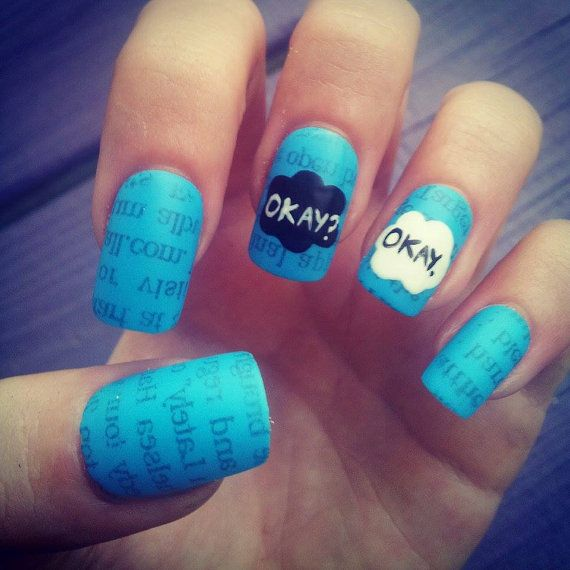 """Matte """"The Fault in Our Stars"""" hand-painted fake nails on Etsy, $24.55 CAD"""