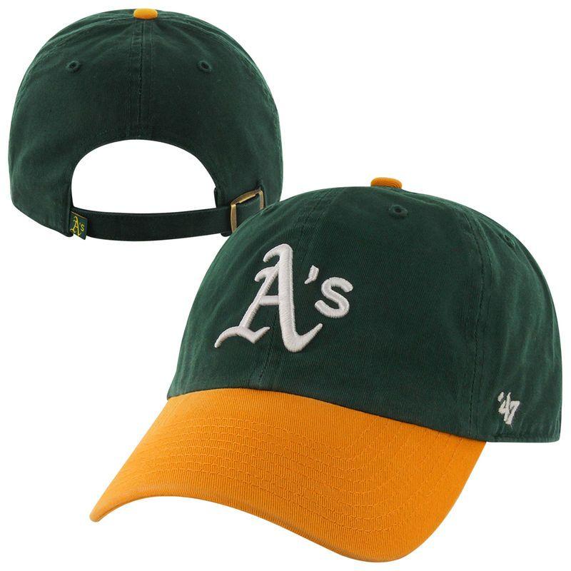 700af1b13ac Oakland Athletics  47 Brand Basic Logo Clean Up Adjustable Hat - Green Gold
