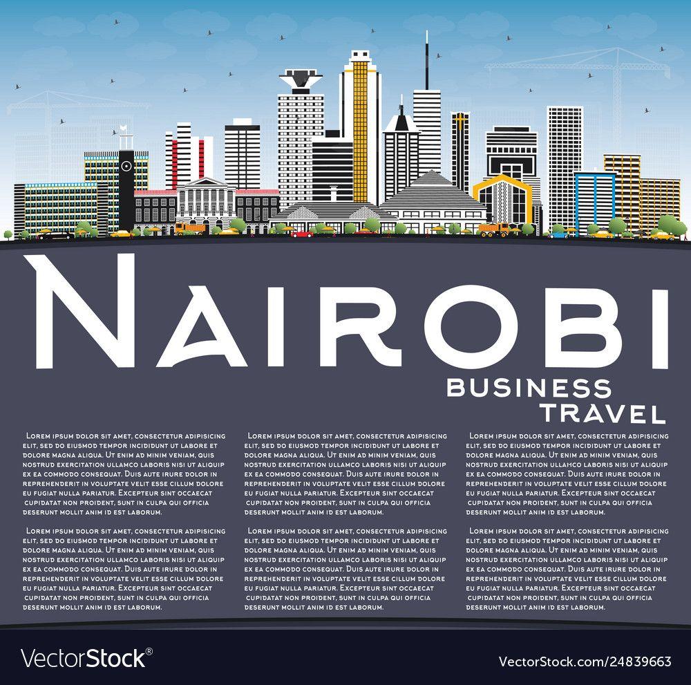 Nairobi Kenya City Skyline With Color Buildings Vector Image Affiliate City Skyline Nairobi Kenya Ad City Skyline Nairobi City City Illustration