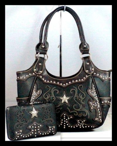 Montana West Western Star Rhinestones Las Handbag Satchel Purse Wallet Set