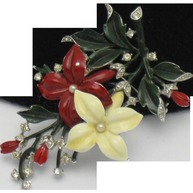 CROWN TRIFARI Vintage 1940's Enamel Rhinestone Figural Flower Brooch Pin