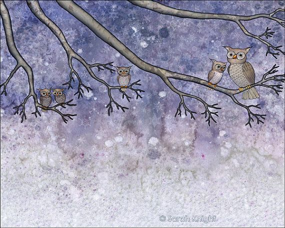 snow hootenanny - digital illustration art print 8X10 inches - owls snowflakes tree branches periwinkle gray white winter nature