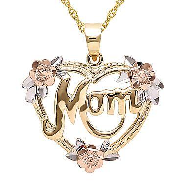 jcp | Infinite Gold™ 14K Gold Tri-Color Mom Flower Heart Pendant Necklace