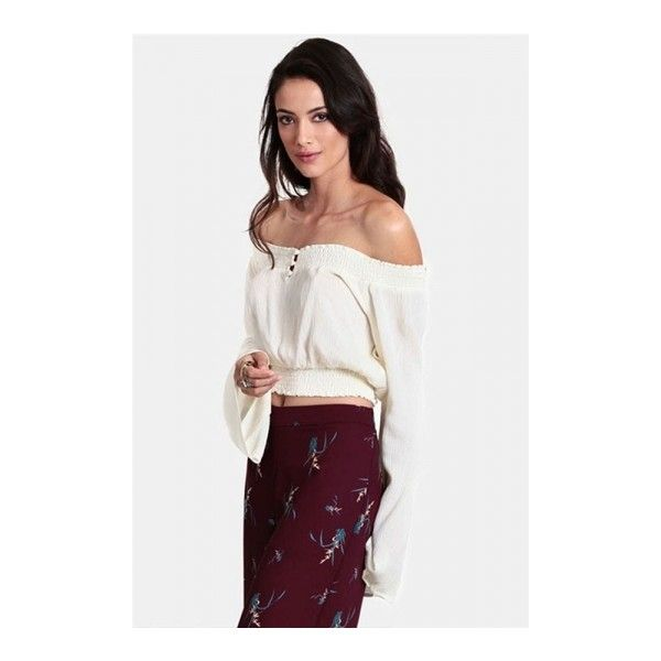 7f6b03cfffd White Sexy Womens Horizontal Neck Long Sleeve Crop Tube Top (€18) ❤ liked  on Polyvore featuring tops, white tops, tube top, sexy tops, white tube top  and ...
