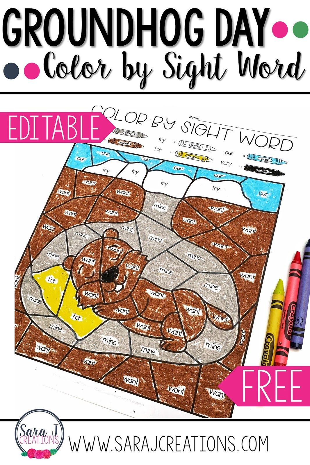 Free Groundhog Day Color By Sight Word Activities In