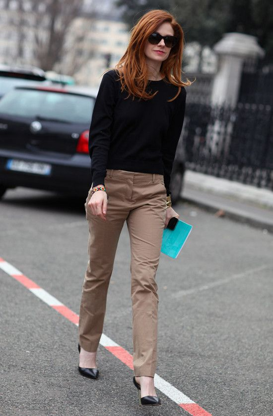 Stephanie LaCava in navy sweater and camel trousers #SuccessfullyStyled