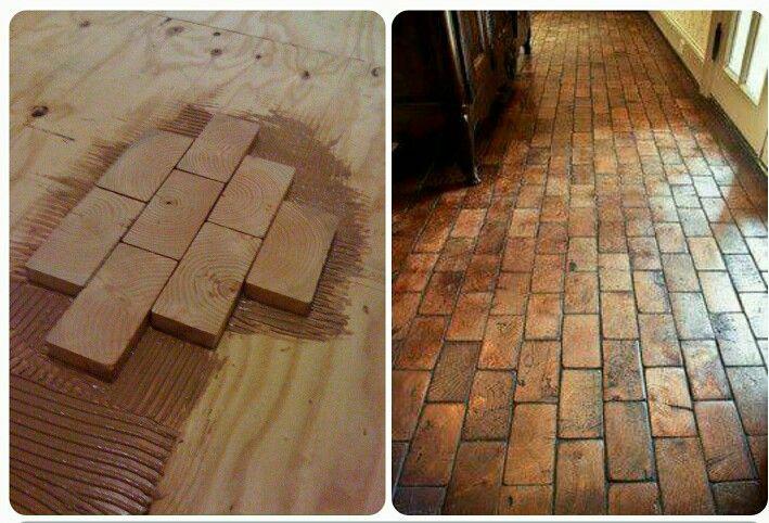 Leftover 2x4 End Pieces As Flooring Flooring Home Remodeling Hardwood Floors