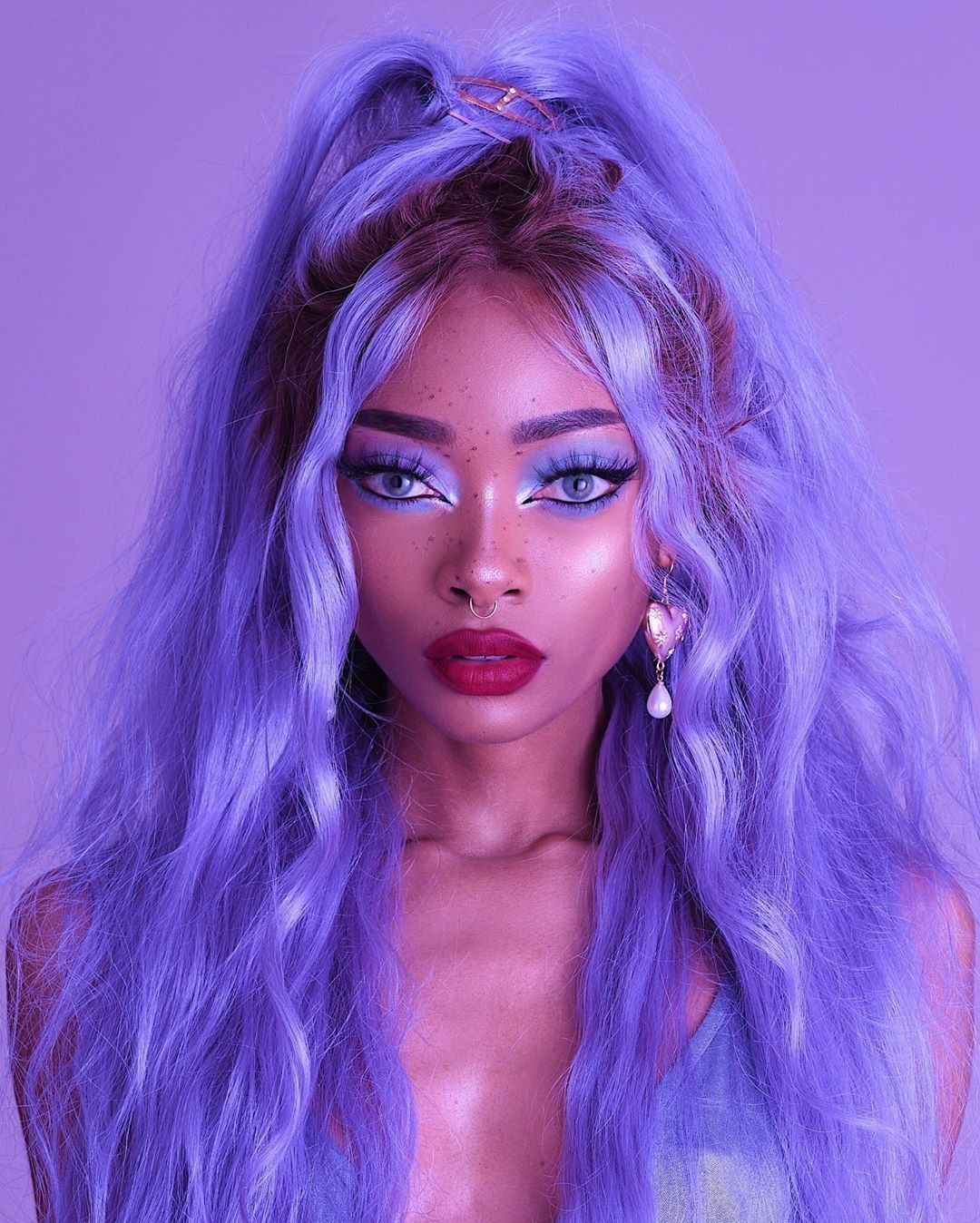 Pin By Currise On Cute Wigs In 2020 Purple Hair Black Girl Girl With Purple Hair Purple Hair