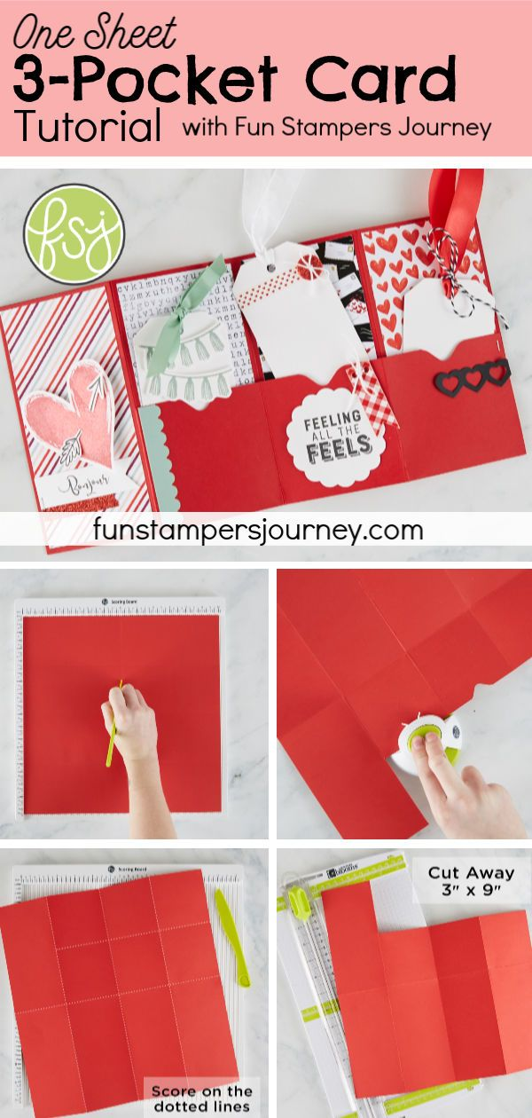 Use one 12x12 sheet of cardstock to make a darling accordion-fold card with three sweet pockets, ready for treats, tags, gift cards, or notes. #funstampersjourney #cardmaking #valentines #papercrafts #FSJfollowyourheart