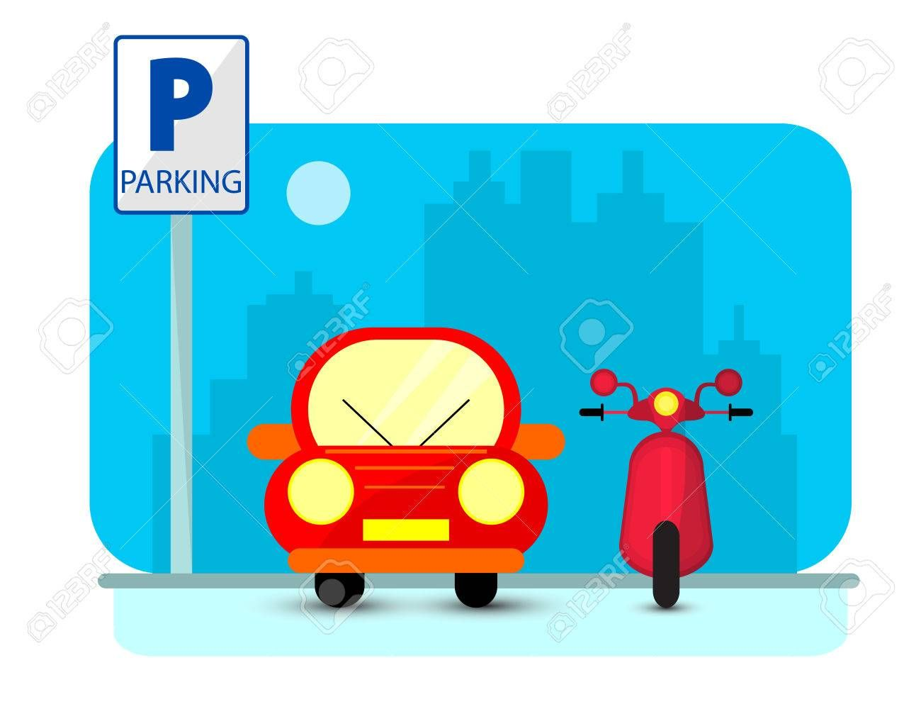 Parking concept with red Car and byke in flat style over city silhouette. Flat Vector Illustration , #AD, #Car, #byke, #flat, #Parking, #concept