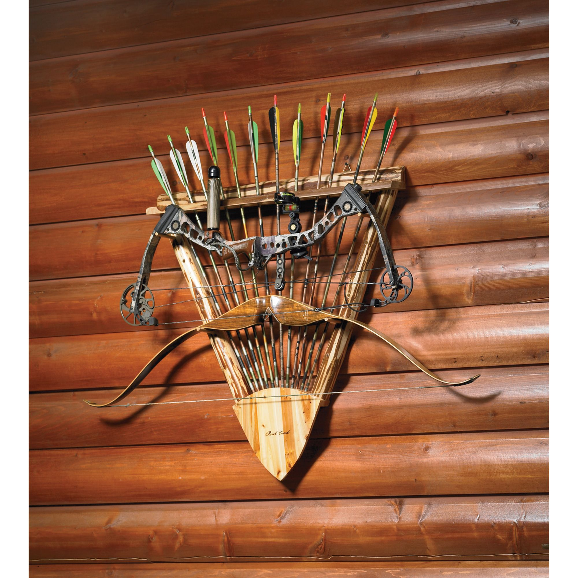Rush Creek Log Wooden Hunting Archery Gear Bow /& Arrow Wall Rack Storage Display