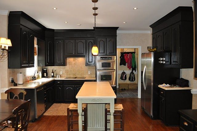 Black Kitchen Cabinets -- Cabinets were finished in Tobaco Black which is  also called