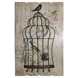 "Brimming with antiqued appeal, this eye-catching wall rack showcases a birdcage design over a wood plank with a carte postale motif.   Product: Wall rackConstruction Material: WoodColor: Shabby brown and dark pewterFeatures:  Five hooks3D pop out bird cageDimensions: 23.75"" H x 15.75"" W x 3.5"" D"